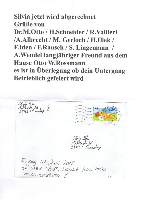 Feiger Anonyms, Drohbrief Nr 5 gegen Silvia Tito Sache Hermes001