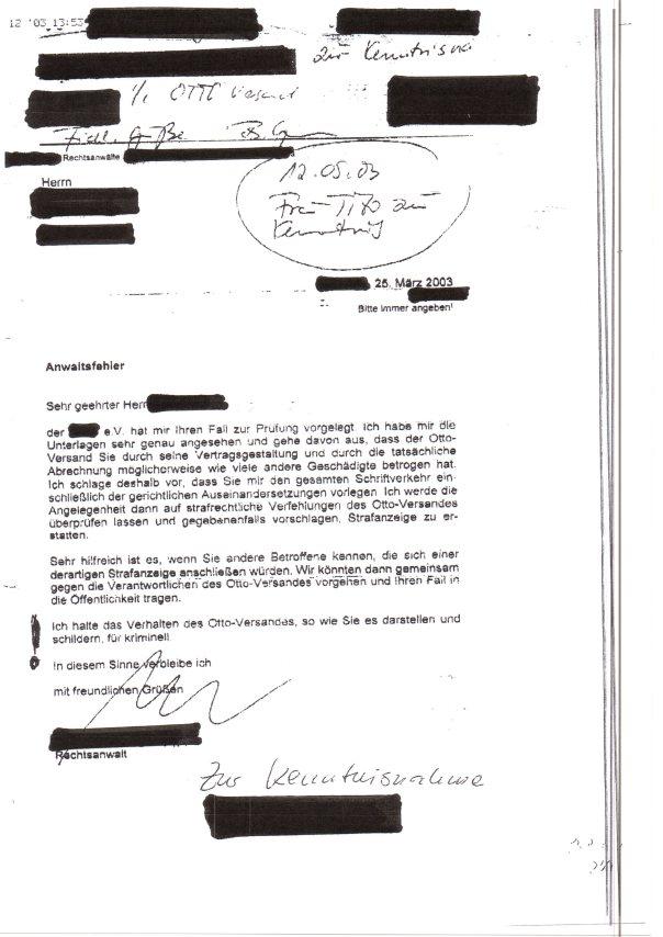 Hans-Otto Schrader Anwalt zum Betrug an Otto-Partnerin an Otto Geschädigte aus Ostdeutschland