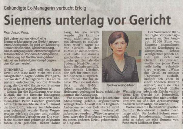 Siemens unterlag vor Gericht im Mobbingprozess