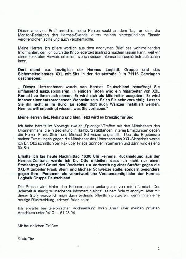 Hermes Bespitzelungsauftrag gegen Silvia Tito 2