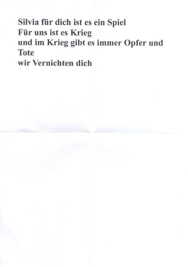 """Drohbrief"" Nummer 3 gegen silvia tito sache hermes001"