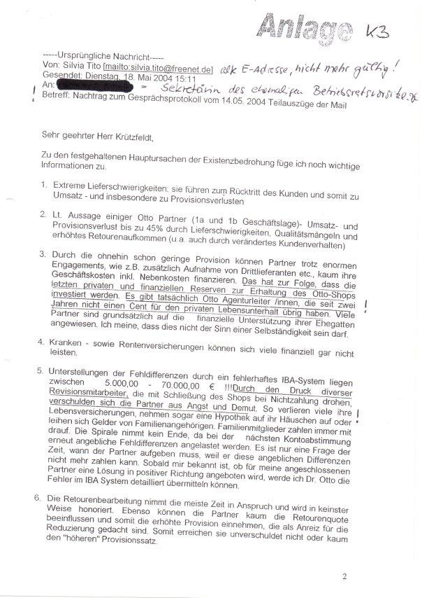 Titos Gesprächsprotokoll für Dr. Michael Otto an Betriebsratsvorsitzenden001