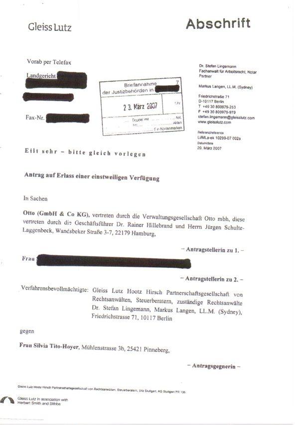 unrechtmäßige EV durch Otto-Vorstand an das Gericht Seite 1 der versuchten Nötigung gegen Tito
