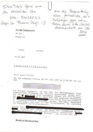 Ein anonym zu haltender Journalist dokumentiert für spätere Anzeige bei der Staatsanwalt die versuchte Nötigung des Otto-Vorstandes per interner Pressemitteilung für Silvia Tito's Spiel, Seite 1