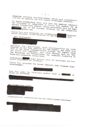 Ein anonym zu haltender Journalist dokumentiert für spätere Anzeige bei der Staatsanwalt die versuchte Nötigung des Otto-Vorstandes per interner Pressemitteilung für Silvia Tito's Spiel, Seite 2