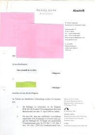 Titos Recherche zum Prozessbetrug durch Otto. Prozess einer Otto-Geschädigten aus dem Osten im Jahr 2004