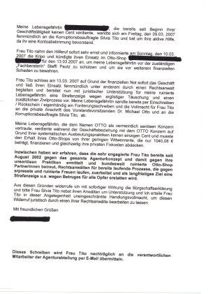OTTO musste in diesem Fall auf einen Prozess gegen die Otto-Partnerin verzichten :-)