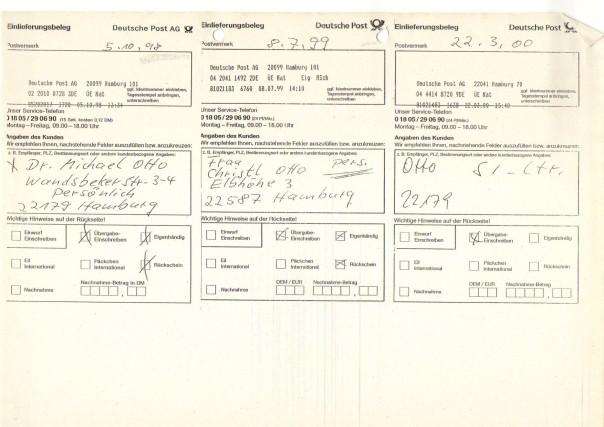 Rückscheine Cäcilia an Dr Michael Otto016