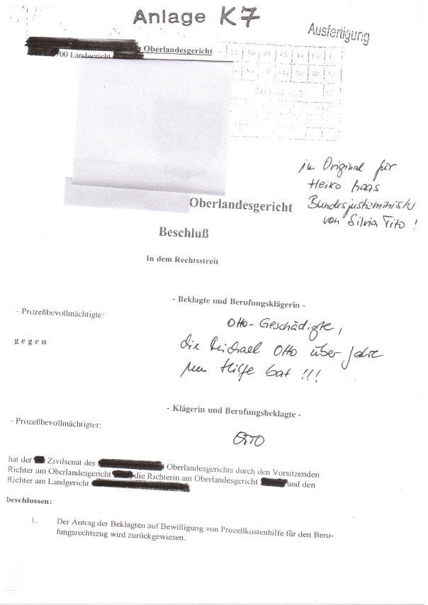 Fehlurteile und faule Vergleiche an Heiko Maas zum Prozessbetrug durch OTTO