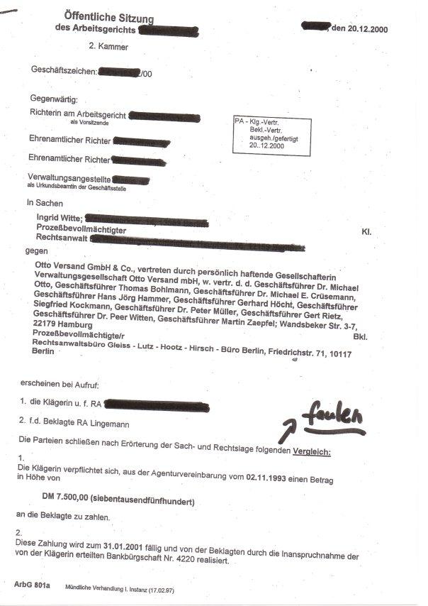 Prozessbetrug gegen Frau Witte, die seit 20 Jahren versuchte, Dr. Michael Otto um HILFE zu bitten!!!
