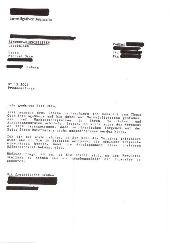 Presseanfrage privat an Dr Otto durch Wirtschaftsjournalist 2006