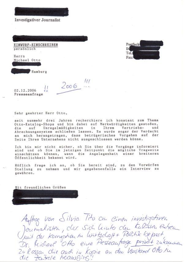 Presseanfrage an Dr Otto über seine Privatadresse in HH im Jahr 2006 zum Otto-Skandal