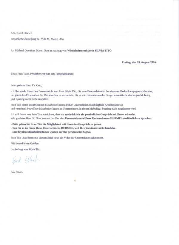 Am 19.08.16 durch Bote an Dr. Otto über private Adresse zugestellt. Kopie für Götz Werner